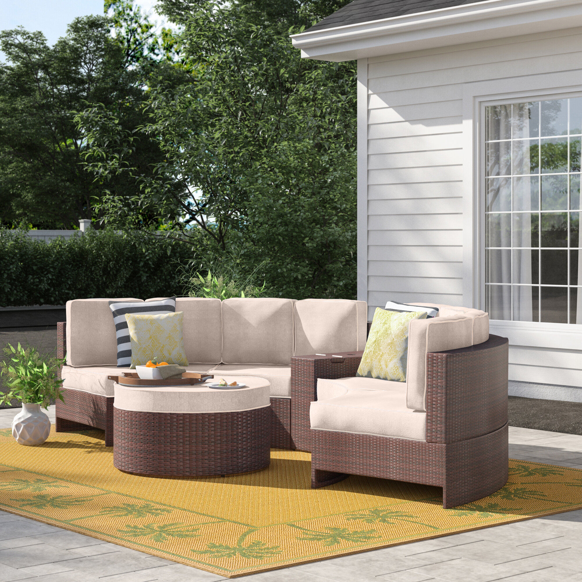 Sol 72 Outdoor Bermuda 6 Piece Rattan Sectional Seating Group With Cushions Reviews Wayfair