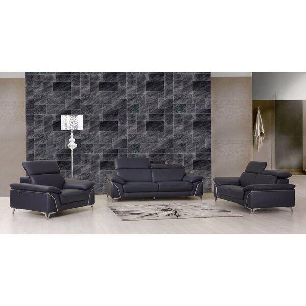 Bierce 3 Piece Leather Living Room Set by Orren Ellis
