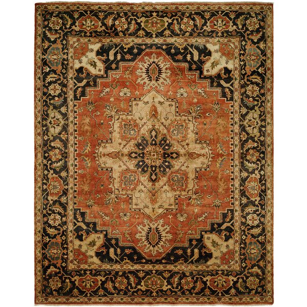 Matilda Hand Knotted Wool Rust/Navy Area Rug by Astoria Grand