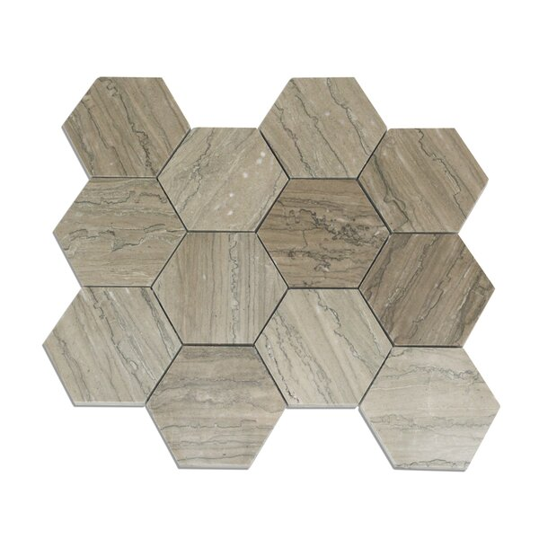 Jackson Hexagon 4 x 4 Marble Mosaic Tile in Taupe by Splashback Tile