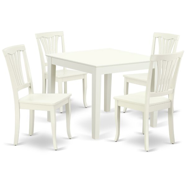 Kropf 5 Piece Solid Wood Dining Set by August Grove