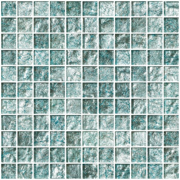 1 x 1 Glass Mosaic Tile in Iced Aqua Steel Blue by Susan Jablon
