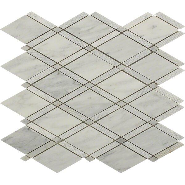 Grand Random Sized Marble Mosaic Tile in Textured White Carrara by Splashback Tile