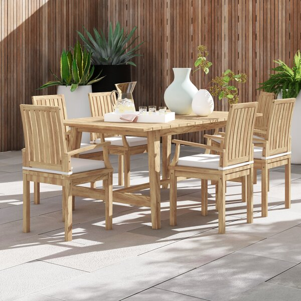Anthony Outdoor Patio 7 Piece Teak Dining Set with Cushions by Foundstone