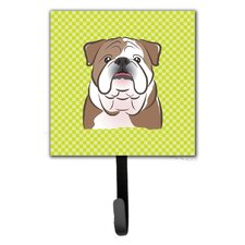 Checkerboard English Bulldog Leash Holder and Wall Hook by Caroline's Treasures