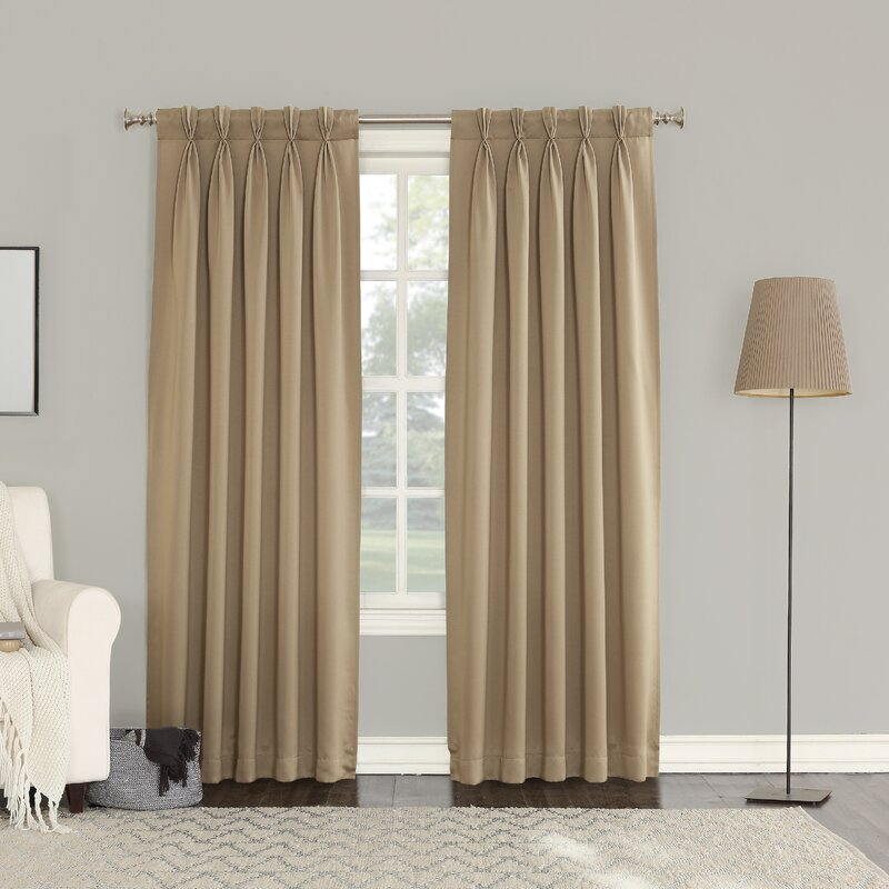Sun Zero Groton Solid Semi Sheer Pinch Pleat Curtain Panels Reviews Wayfair