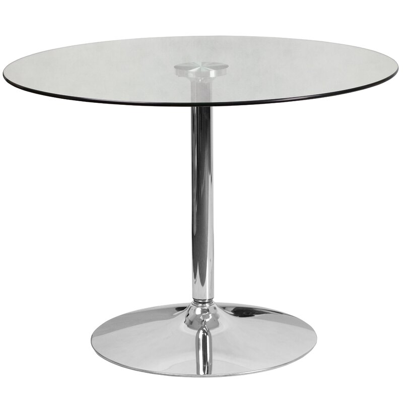 Round Glass Dining Table wade logan cavell round glass dining table & reviews | wayfair