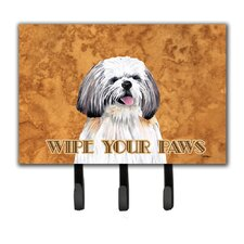 Shih Tzu Wipe Your Paws Leash Holder and Key Hook by Caroline's Treasures