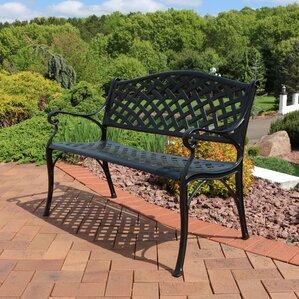 Amazing Ismenia Checkered Outdoor Cast Aluminum Patio Garden Bench
