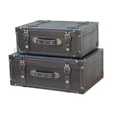 Antique Style Suitcase With Straps (Set of 2) by Quickway Imports