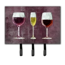 3 Glasses of Wine Purple Leash Holder and Key Hook by Caroline's Treasures