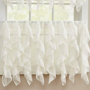 Superb Chic Sheer Voile Vertical Ruffle Window Kitchen Tier Curtain (Set Of 2)