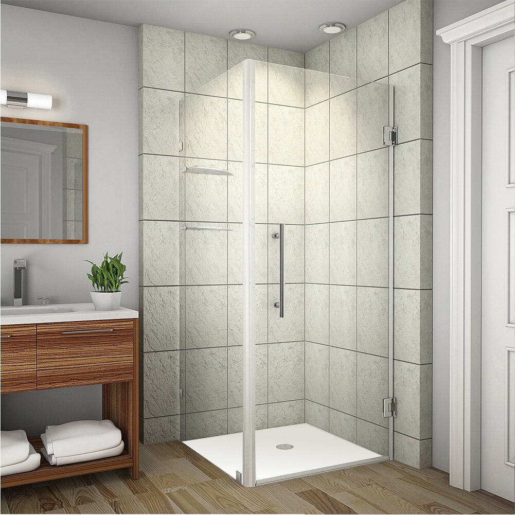 Aston aquadica gs completely frameless hinged square for Shower cubicle shelves