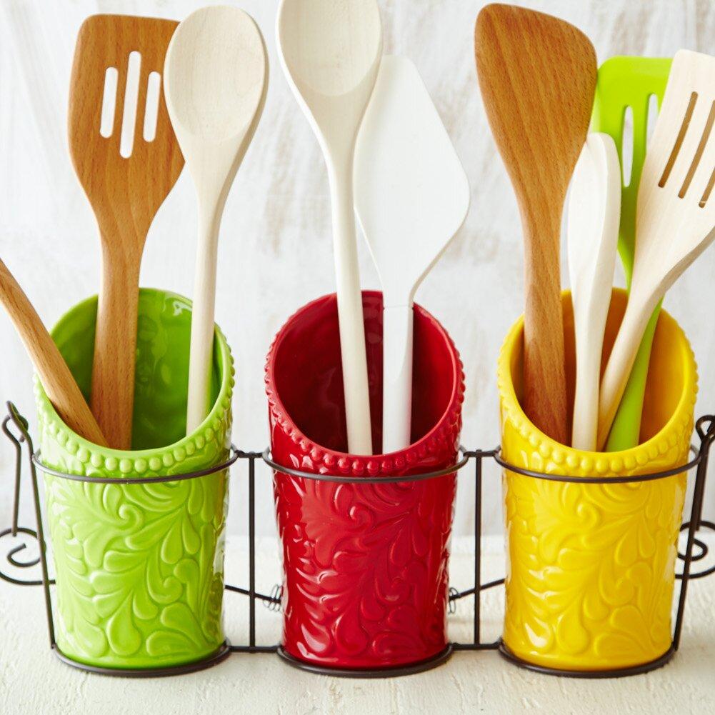 Wooden kitchen utensil holder - Kitchen Ceramic Utensil Holder