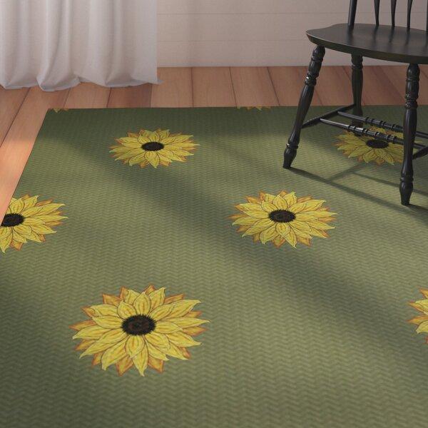 August Grove Laniel Sunflower Frenzy Flower Print Green