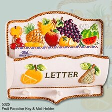 Fruit Paradise Ceramic Mail Holder and Key Hooks by ABC Home Collection