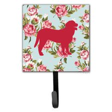 Curly Coated Retriever Shabby Elegance Blue Roses Leash Holder and Wall Hook by Caroline's Treasures