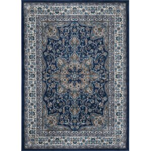 Violet Navy Oriental Hand-Tufted Area Rug