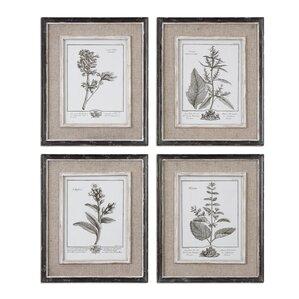 4-Piece Casual Gray Framed Print Set