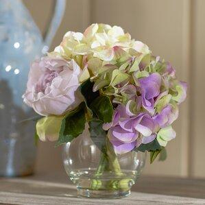 Faux Mixed Pastel Floral Arrangement in Glass Vase