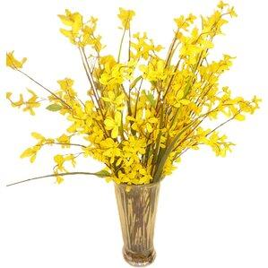 Faux Yellow Forsythia Grass in Glass Vase