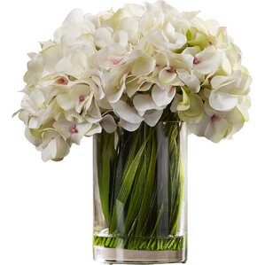 Faux White Hydrangea Arrangement in Glass Vase