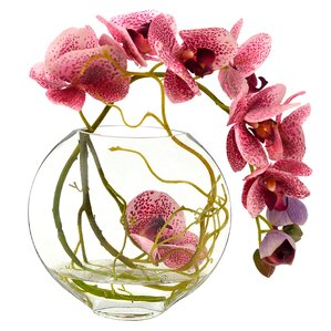 Faux Fuchsia Orchid with Vine in Glass Vase