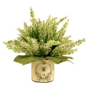 Faux Cream Heather in Decoupage Pot