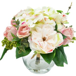 Faux Mixed Rose & Hydrangea Arrangement
