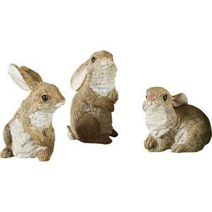 3-Piece Rabbit Garden Statuette Set (Set of 3)