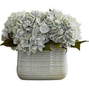 Faux Hydrangeas in Blue Ceramic Vase