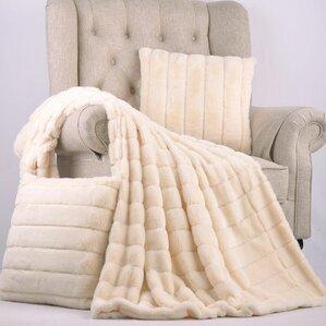 Abbott Rabbit Faux Fur Throw & Pillow Set