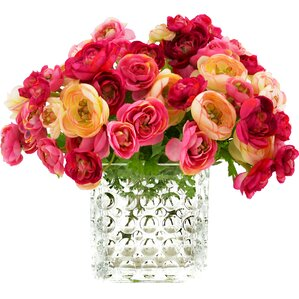 Faux Ranunculus Arrangement in Decorative Vase