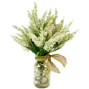 Faux White Heather in Mason Jar with Burlap Bow