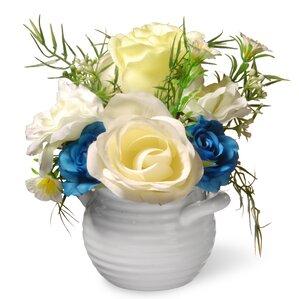 Faux Rose Flowers in Pot