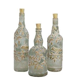 Sandra 3-Piece Glass Decorative Bottle Set