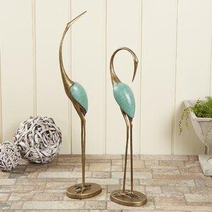 2-Piece Garden Crane Statue Set