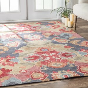 Jean Red & Blue Floral Hand-Tufted Area Rug