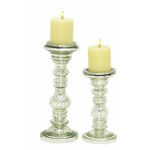 Ingrid 2 Piece Metal Candlestick Set