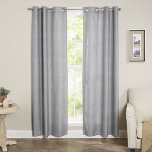 Willow Solid Semi-Sheer Thermal Grommet Single Curtain Panel