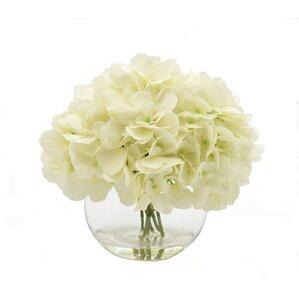 Faux White Hydrangea in Glass Bubble Vase