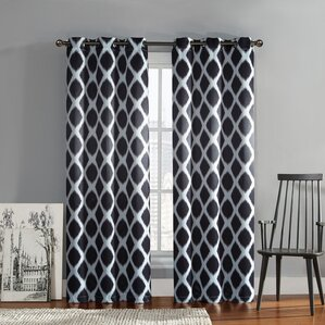 Ayla Ikat Blackout Grommet Curtain Panel (Set of 2)