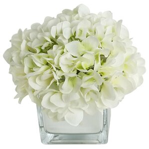 Artificial Silk Hydrangea Floral Arrangements in Decorative Vase