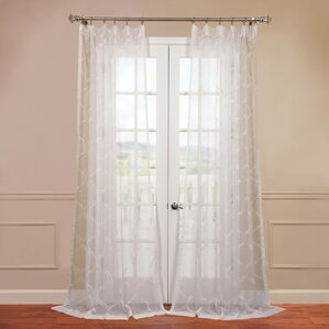 Florence Trellis Sheer Rod Pocket Single Curtain Panel