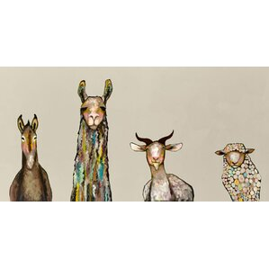 Donkey, Llama, Goat, Sheep on Cream Canvas Print