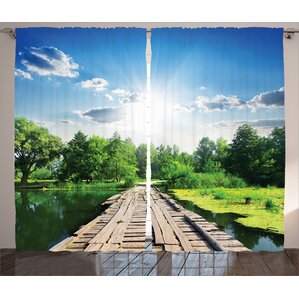 Read Reviews Leisha Graphic Print & Text Semi-Sheer Rod Pocket Curtain Panels (Set of 2)