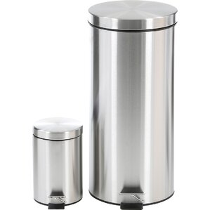 2-Piece Stainless Steel Wastebasket Set
