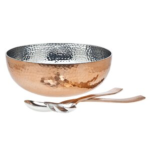 Elizabeth 3-Piece Copper Salad Bowl & Server Set