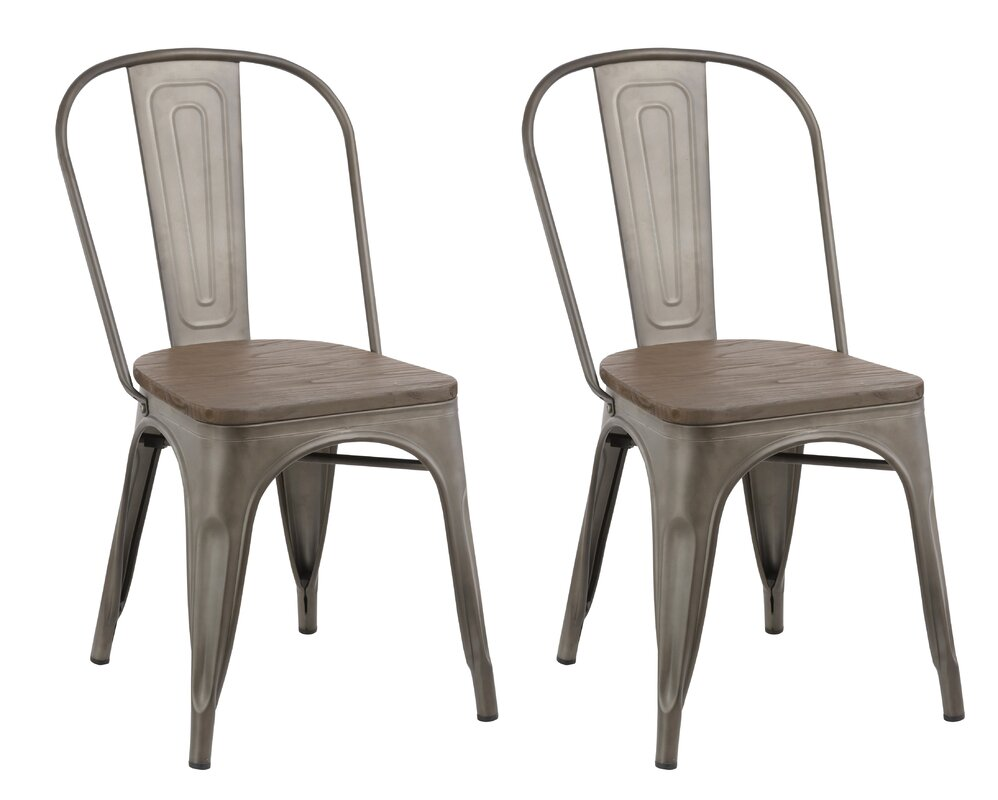 Metal Dining Chairs Industrial famiscorp industrial metal solid wood dining chair | wayfair