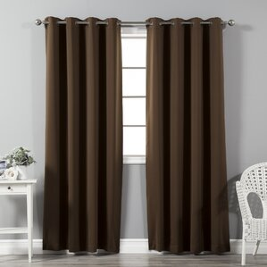 High Quality Solid Blackout Thermal Grommet Curtain Panels (Set Of 2)